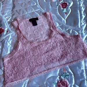 Material Girl - Pink Lace Crop Top
